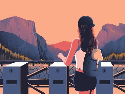 Tourism - i2i Art Inc. - ©Eric Chow travel eric chow landscape ecotourism turnstile woman people tourism conceptual graphic editorial i2i art illustrator illustration