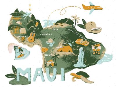 Maui - i2i Art Inc. - ©Kelsey Davis vintage editorial transportation tourism travel lettering texture maps i2i art kelsey davis kelsey davis illustrated illustration map maui