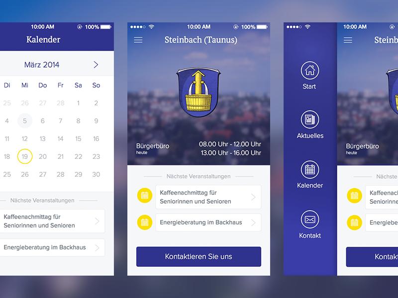 City App for Steinbach city app ios flat menu calendar