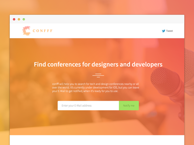 Confff - Find conferences for designers and developers confff conference landing page