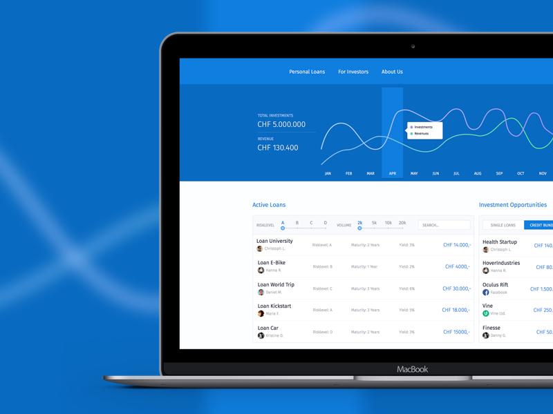 Mockup Crowdlending Platform money crowdleoding dashboard finance charts fintech