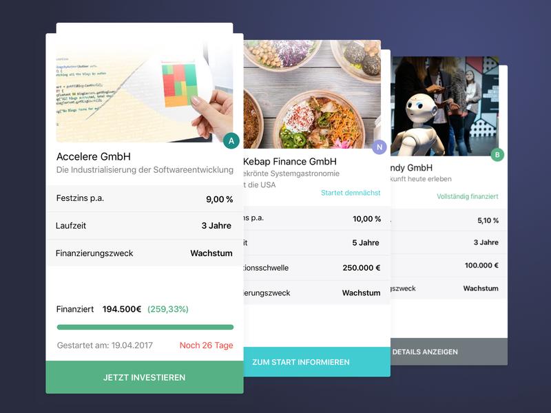 Kapilendo investment cards fintech ui cards design finance business investment finance