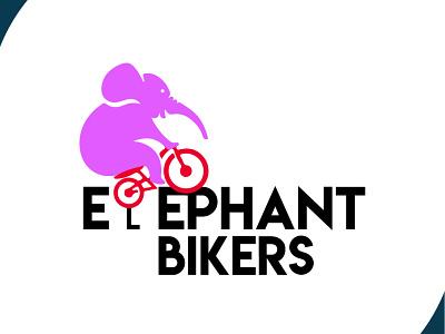 elephant bikers logo biker brand identity visual design logo design bike elephant logo elephant brand design brand design art vector logo illustration flat design branding art