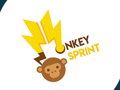 Monkeysprint logo design visual design speed thunder monkey logo brand identity icon brand design brand design art vector logo illustration flat design branding art