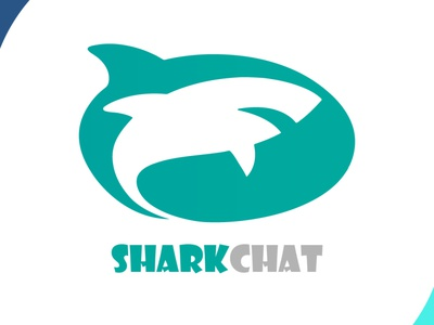 Sharkchat blue shark app design app visual design chat shark logo icon brand design art vector logo illustration flat design branding art