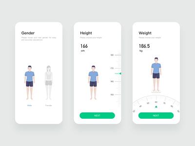Personal settings setup weight height gender ui