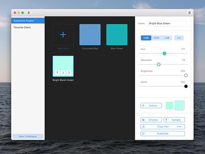 Work in Progress: Color Catalogue design ui mac app app mac color library