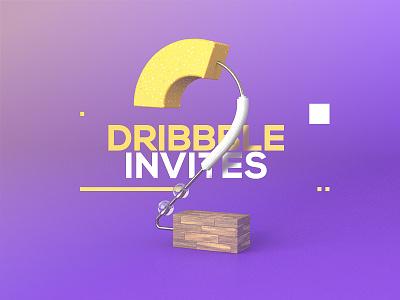 2 Dribbble invites! dribble number render cinema 4d dribbble invite dribbble invite