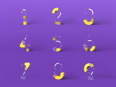 Project - numbers typeface typography text numbers font cinema4d abstractc4d 3dfont 3d