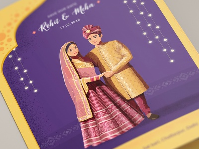 Indian wedding Invitation - 2 character design krishna kumar mockup flat texture noise illustration india card invitation wedding