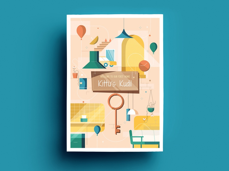 House Warming Invitation invitation design chennai card invite flat design india krishna kumar illustration