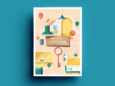 House Warming Invitation invitation design chennai card invite flat design india krishna kumar illustration