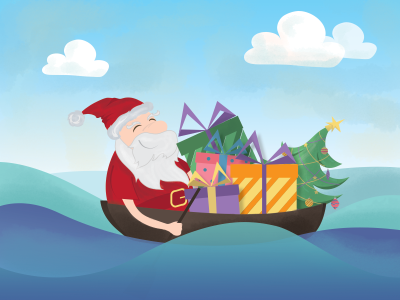Santa in the boat santa christmas graphic character design gifts christmas tree boat waves 2015 new year
