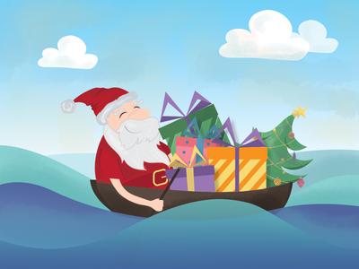 Santa in the boat