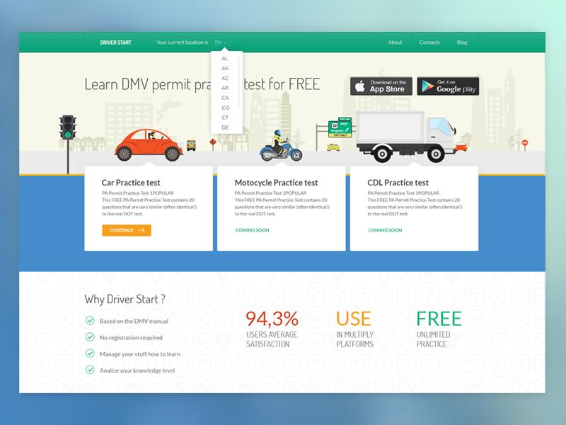 DMV service web page by Natali Volosetska on Dribbble