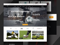 Online store to find soccer equipment home page soccer online store ui ux website design