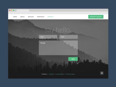 Neioo Contact Page green grey dark portfolio design website shelf modern contact flat ui single page web design