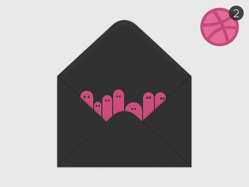 Dribbble Invite dribbble invite giveaway pink envelope cartoon dribbble invite worm things minimal letter post dark
