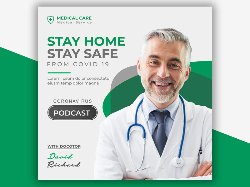 Covid-19 Protect Yourself Medical Podcast Design audio radio music music player graphic design design podcasts audio player treatment podcast logo doctor medical corporate creative business commercial podcasting podcast art podcast