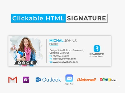 Creative Clickable HTML Email Signature Template Design hospital medical clicker html template corporate design creative commercial click email signature template clickable signature gmail html email signature email signature email design email email template clickable