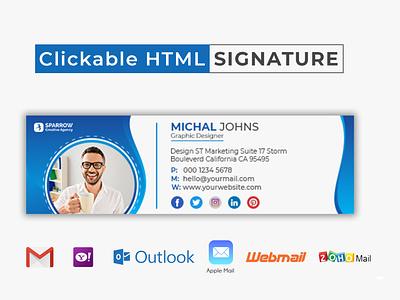Creative Clickable HTML Email Signature Template Design design creative commercial html email email signup ecommerce html email signature clickable signature clickable signatures gmail signature email signatures email signature signature email template email design