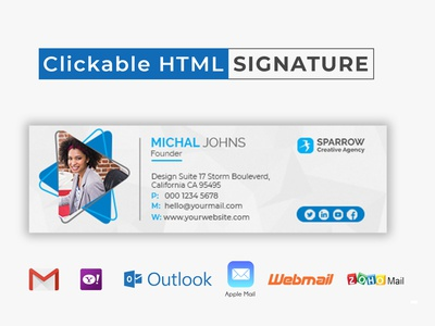 Clickable HTML Email Signature Template Design template design template email design email signatures email template clickable email signature clickable email signature email logo ui banner design business design brand design corporate brand identity commercial creative