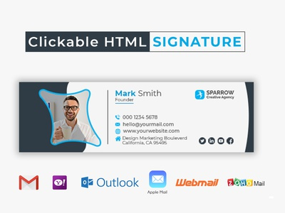 Clickable HTML Email Signature Template Design clickable email signature clickable siganture email signatures email signature email template email design email clean graphic design branding business design brand design corporate brand identity commercial creative