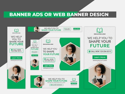 Creative Green School Admission Banner Ads Or Web Banner Design animated web banner ad web banner html5 google ad banner google adwords google ads ads banner ads banner design flyer business design graphic design banner branding corporate commercial creative