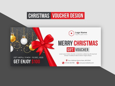Creative Modern Abstract Minimal Merry Christmas Voucher Design graphic design voucher design voucher banner business brand design brand identity design corporate commercial creative