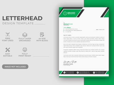 Creative Modern Green Color Corporate Business LetterHead Design visual visual ready ready print letterhead template stationary a4 simple elegant professional minimalist document company branding identity modern corporate presentation letterhead templates business