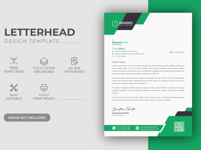 Creative Modern Green Color Corporate Business LetterHead Design print presentation payment paper page modern minimalist minimal letterhead template letterhead identity form finance elegant document design corporate company business a4