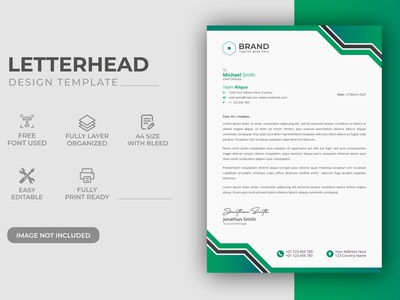 Creative Modern Green Color Corporate Business LetterHead Design identity