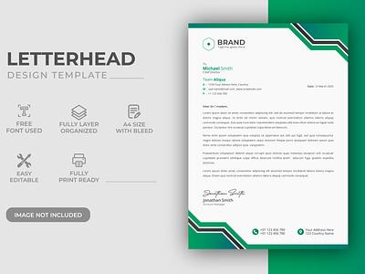 Creative Modern Green Color Corporate Business LetterHead Design