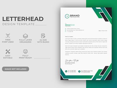 Creative Modern Green Color Corporate Business Letterhead Design identity