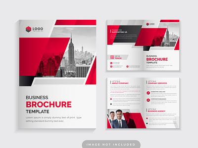 Red Color Corporate Bi Fold Business Brochure Design Template annual report elegant