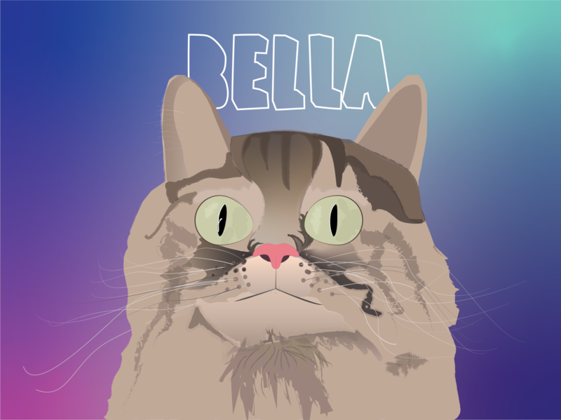 Ode to Bella illustrator vector artwork cat
