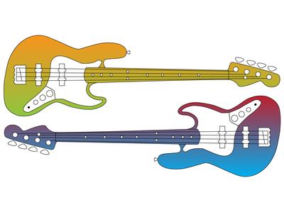 Bass Guitar Vector Drawings minimal vector art illustrator art bass guitar illustrator