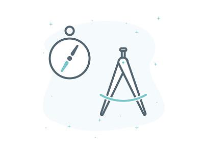 Design - The compass caliper tool compass icons green minimal design