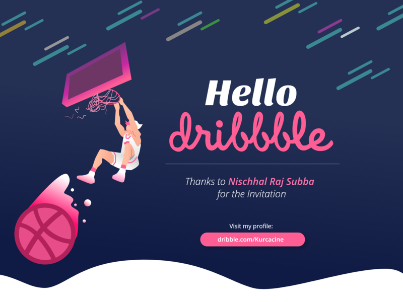 Hello Dribble! black blue design illustration dribble invite dribble shot hello dribble hellodribbble