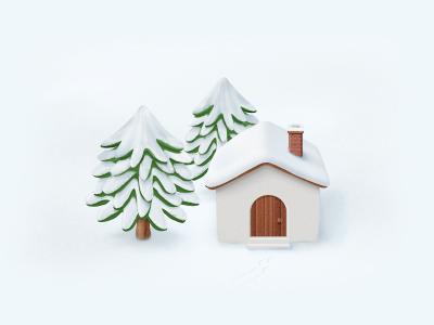 Merry Christmas icon christmas snow tree house