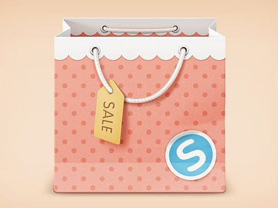 Bag icon rope icon sale store market shoping shop bag pink