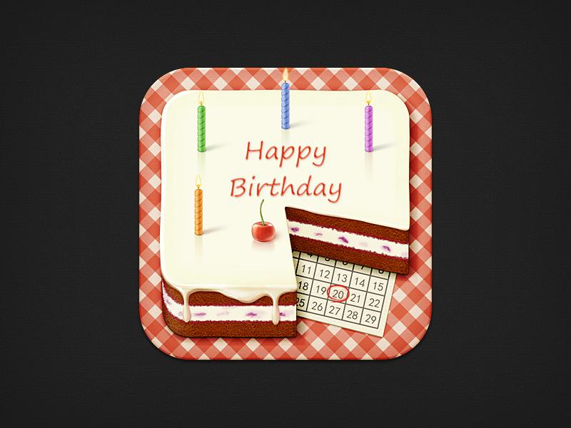 Birthday Reminder birthday cake candle cherry calendar date ios iphone icon
