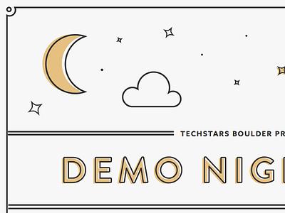 Demo Night Invite stars night invite print gold offset moon invitation