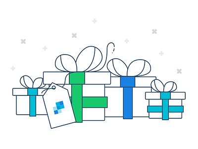 SendGrid Illustration Exploration sendgrid presents gifts line line art quirky playful