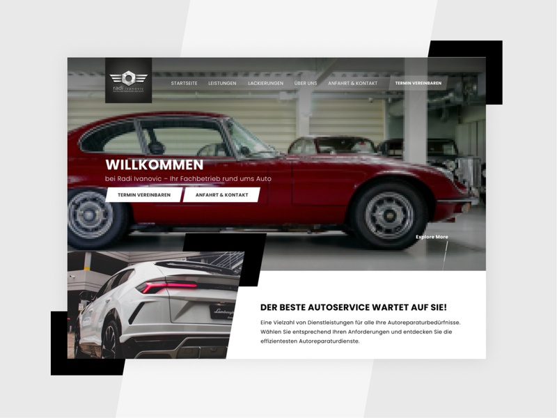 Website Design for a car repair service in Germany care efficient automotive branding car service web ui design