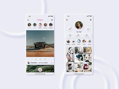 Instagram Redesign application app ux ui soft ui uiux design redesign instagram figma adobe xd