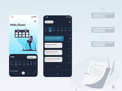 Calendar-To do list to do app to do list calendar ui uiux ux figma design application app adobe xd