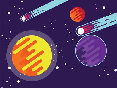 Galaxy Dribbble universe tutorial vector galaxy stars comet planets comets