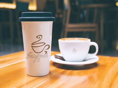 Daily Grind cup mockup hand drawn thirtylogo daily grind coffee