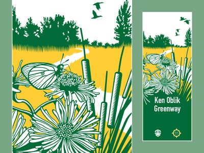 Ken Oblik Greenway Trail Sign signage sign nature flower butterfly logo icon historical graphic design environmental